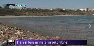 Plajă și baie în mare, în octombrie [VIDEO]